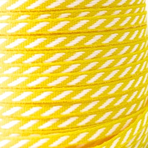 4mm wide Diagonal Stripe Ribbon - Lemon