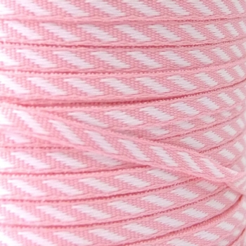 4mm wide Diagonal Stripe Ribbon - Pink