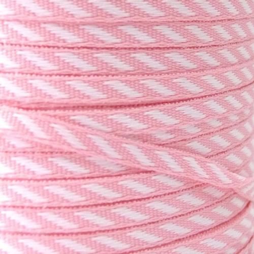 4mm wide Diagonal Stripe Ribbon - Pink