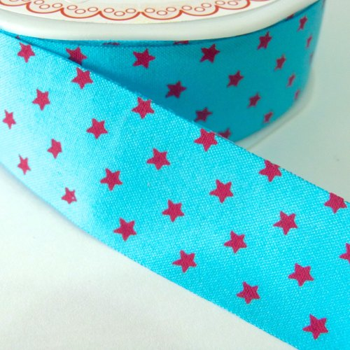 25mm Cut Edge Star Ribbon - Blue/Fuchsia