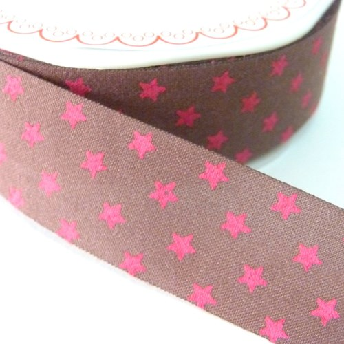 25mm Cut Edge Star Ribbon - Brown/Fuchsia