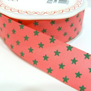 25mm Cut Edge Star Ribbon - Coral/Grey