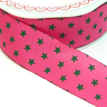 25mm Cut Edge Star Ribbon - Fuchsia/Grey