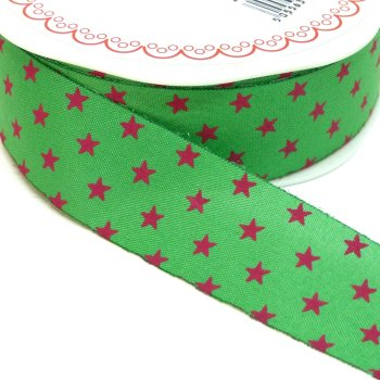 25mm Cut Edge Star Ribbon - Green/Fuchsia