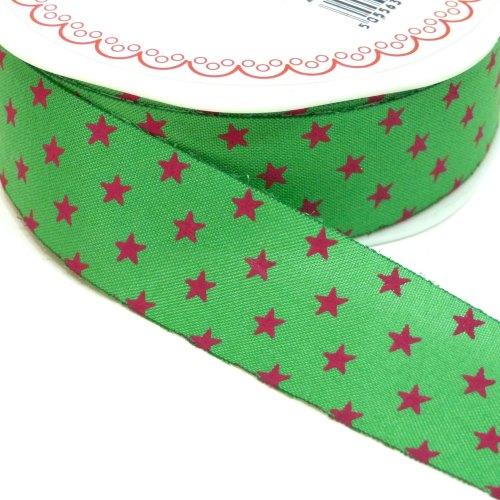 25mm Cut Edge Star Ribbon - Green/Fuchsia