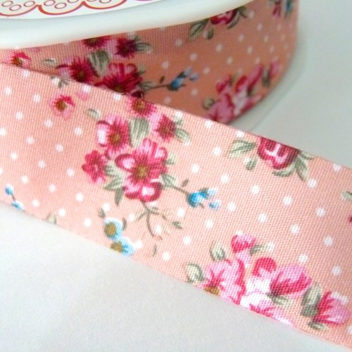 25mm Cut Edge Roses Ribbon - Peach