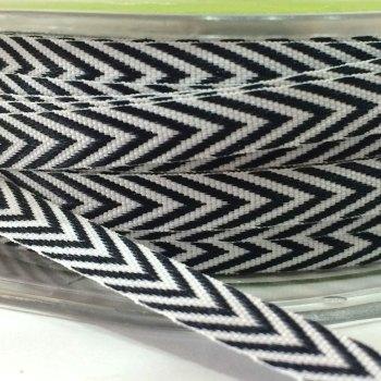 6mm Wide V Stripe Twill Ribbon - Black