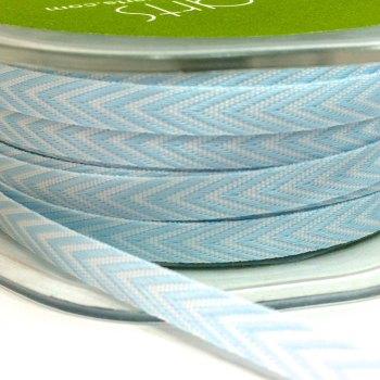 6mm Wide V Stripe Twill Ribbon - Light Blue