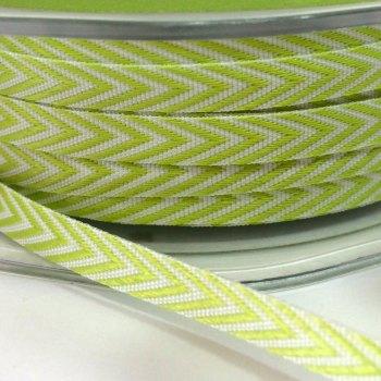 6mm Wide V Stripe Twill Ribbon - Light Green