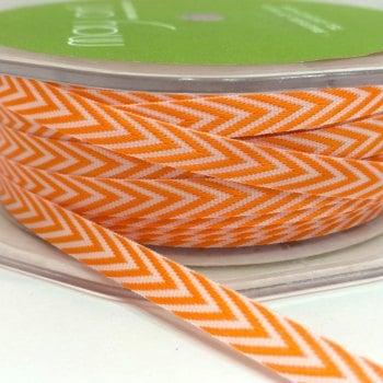 """6mm (¼"""") V Stripe Twill Ribbon - Orange"""
