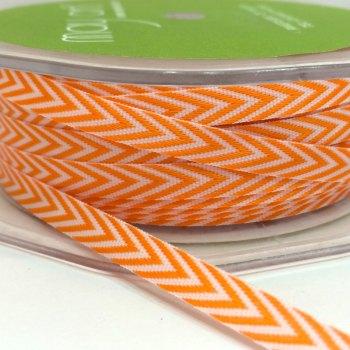 6mm Wide V Stripe Twill Ribbon - Orange