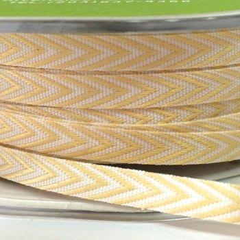 6mm Wide V Stripe Twill Ribbon - Pastel Yellow