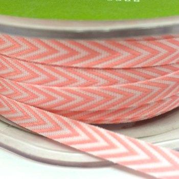6mm Wide V Stripe Twill Ribbon - Pink