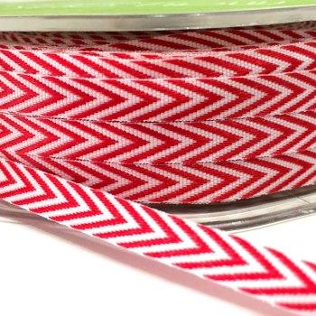 6mm Wide V Stripe Twill Ribbon - Red