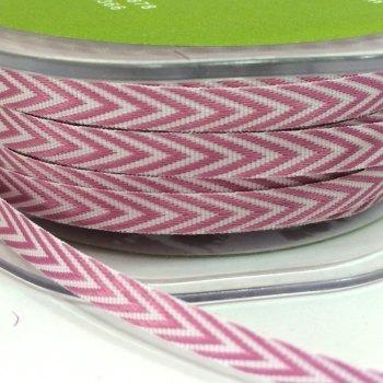 6mm Wide V Stripe Twill Ribbon - Rose Pink