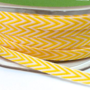 6mm Wide V Stripe Twill Ribbon - Yellow