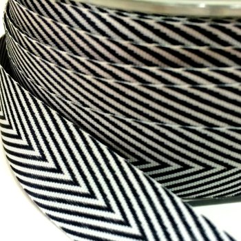 19mm Wide V Stripe Twill Ribbon - Black