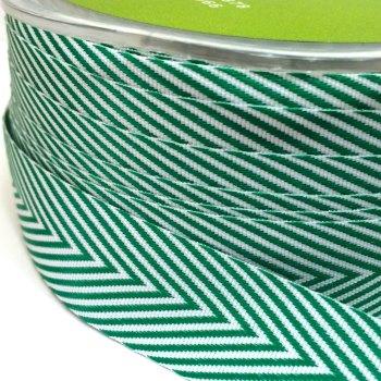 19mm Wide V Stripe Twill Ribbon - Green