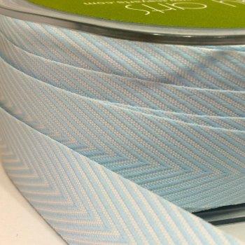 19mm Wide V Stripe Twill Ribbon - Light Blue