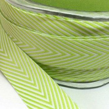 19mm Wide V Stripe Twill Ribbon - Light Green