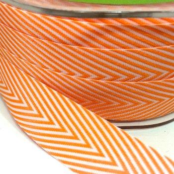 19mm Wide V Stripe Twill Ribbon - Orange