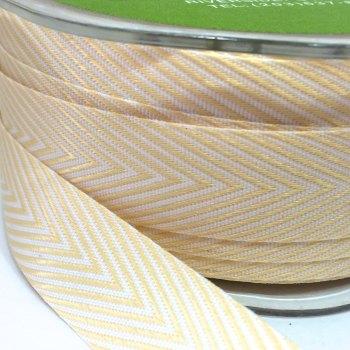 19mm Wide V Stripe Twill Ribbon - Pastel Yellow