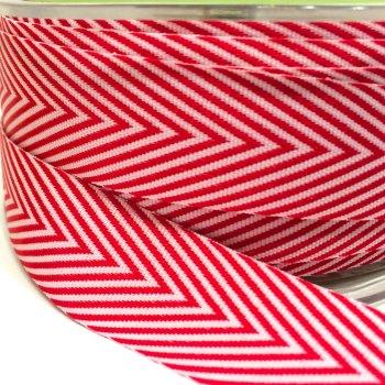 19mm Wide V Stripe Twill Ribbon - Red