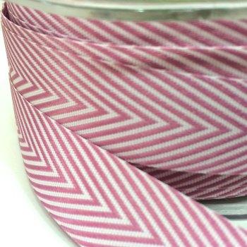 19mm Wide V Stripe Twill Ribbon - Rose Pink