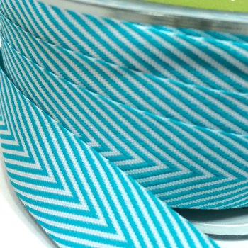 19mm Wide V Stripe Twill Ribbon - Turquoise