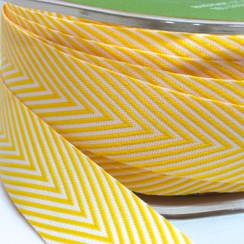 19mm Wide V Stripe Twill Ribbon - Yellow