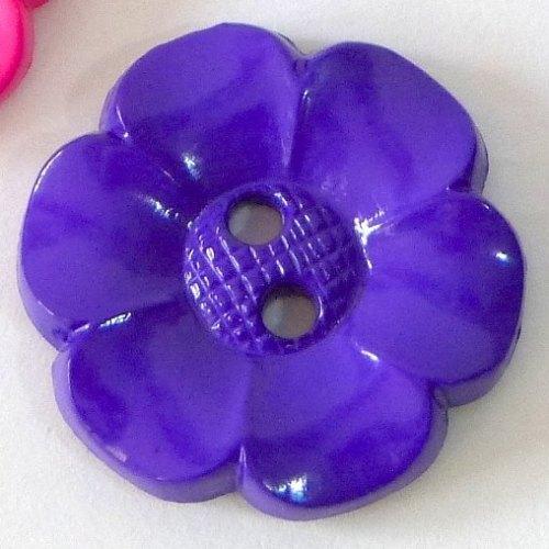 23mm Flower Buttons - Purple