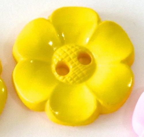 23mm Flower Buttons - Yellow