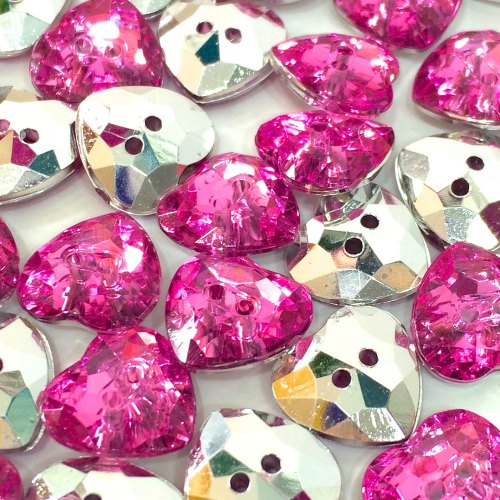 12mm Crystal Heart Button - Pink