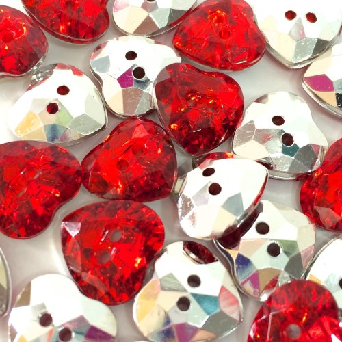 16mm Crystal Heart Button - Red