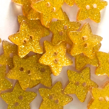 Pack of 5 - 18mm Glitter Star Button - Gold
