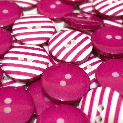 12mm Stripe Button - Fuchsia