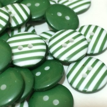 SALE 12mm Stripe Button - Green