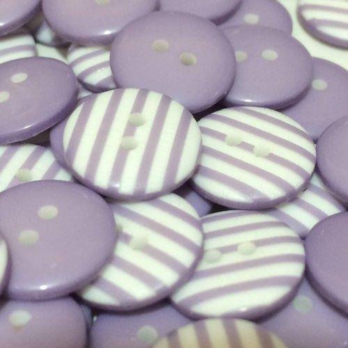 12mm Stripe Button - Lilac
