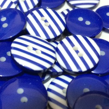 SALE 12mm Stripe Button - Navy