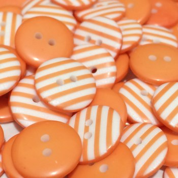 SALE 12mm Stripe Button - Orange