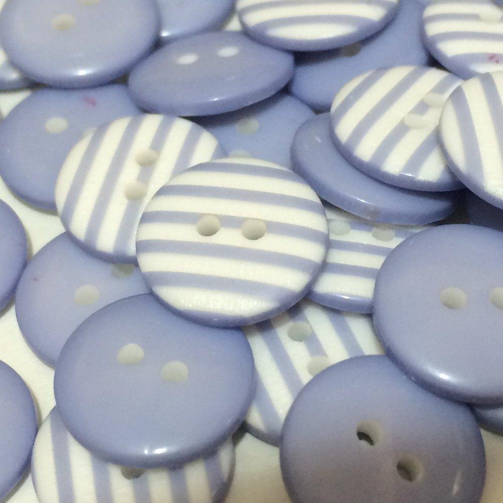 12mm Stripe Button - Pastel Lilac