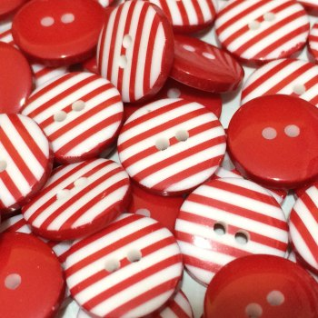 SALE 12mm Stripe Button - Red