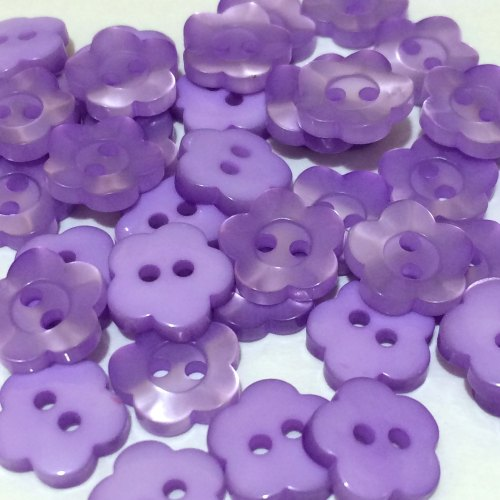 11mm Pearl Flower Button - Lilac