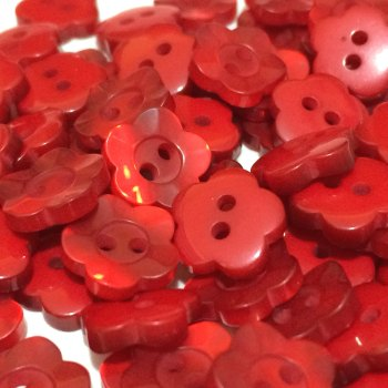 11mm Pearl Flower Button - Red