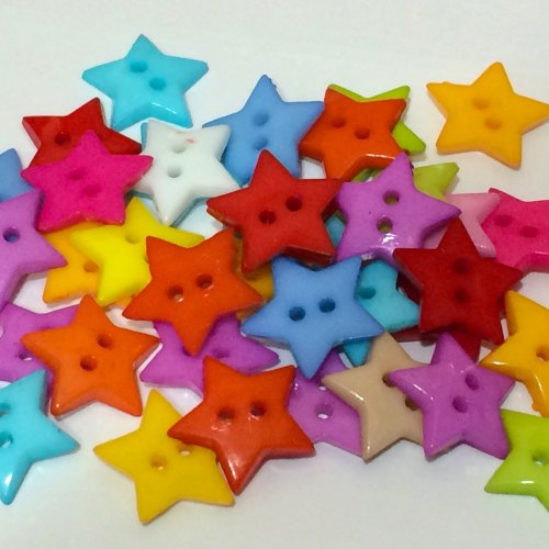 20 x 19mm Star Buttons