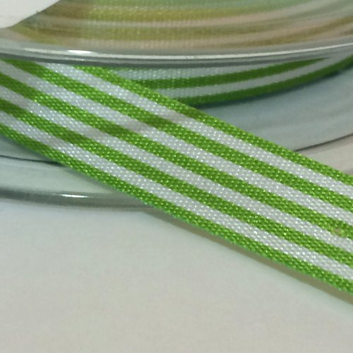 9mm Pencil Stripe Ribbon - Green