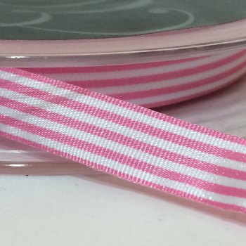 9mm Pencil Stripe Ribbon - Pink