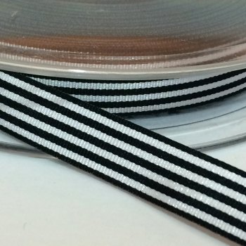 9mm Pencil Stripe Ribbon - Black