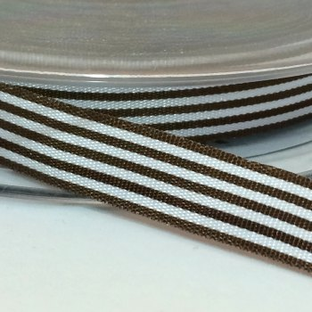 9mm Pencil Stripe Ribbon - Brown