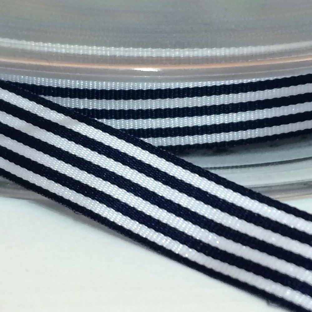 9mm Pencil Stripe Ribbon - Navy
